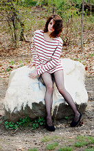 Sharlotte F - Fishnet Tights, Forever 21 Canvas Platform Heels, American Apparel Striped Sweater - Channeling Edie