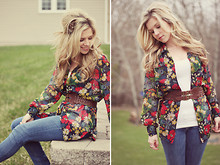 Kelly Hicks - Thrifted Floral Shirt, Forever 21 Belt, H&M Jeans, Heritage Feathered Hair Clips - EARTH DAY