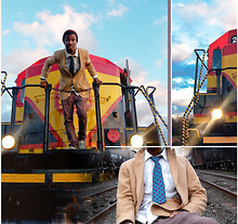 Randy Palmer - Camel Coat, Almost Jeans/ Almost Pants, Christian Dior Vintage Silk Tie - Huge Train Ready For Two