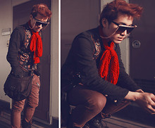 KIKO CAGAYAT - Prada Body Bag, Topman Carrot Pants, H&M Red Scarf, 2nd Hand Vest, 2nd Hand Glasses With Golden Holder, Japan Boots - Rock & rolling