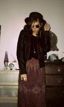 "Gwendolyn R. Chandler - Dads San Francisco Hat, Ebay ""John Lennon"" Sun Glasses, Forever 21 Leather Jacket, Forever 21 Black, Lace On The Shoulders, Forever 21 Long, Leaf Necklace, Had It Since I Was A Child Its Just Cloth Wrapped Around - Waking the Fallen"