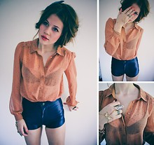 Oonatjie S. - American Apparel Discopans, Pins And Needless Blouse, Urban Outfitters Swallow Ring - Quite Little Voices