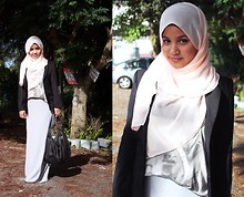 Aishah Amin. - Skirt, Bag, Blazer, Topshop Printed Top - Rolling in the deep.