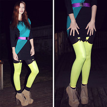 Momoiro K - Self Made Belt, Warehouse Dress, Black Milk Clothing Suspender Leggings, Jeffrey Campbell Taupe Lita - Neon Easter!