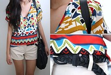 Amy P. - Tillys Black Shoulder Bag, Forever 21 Black Braided Belt, Tribal Print Loose Top, Daisy Fuentes Khaki Shorts - Behind the Sun