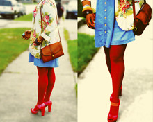 Sydney Taylor - Thrift Store Floral Blazer, Paris Hilton Pink & Red Ombre Platforms, Xhiliration Red Tights, Thrift Store Denim Dress, Coach Vintage Bag - Easter Eggs