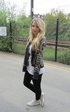 Lucy L - Topshop Patterned Cardigan, Topshop Lace Up Pumps - Patterned