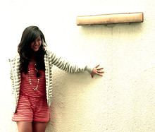 Angelica Torres - Forever 21 Striped Romper, Gap Striped Jacket, Accessorize Aviators - STRIPES