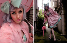 Stella Rose . - Urban Outfitters Sheer Hearts Tights, Kimchi Blue Beige Pink Mary Janes, Handmade Mint And Pink Headbow, Handmade Pink Rhinestone Rose Earrings, Vintage Mint Sheer Gloves, Vintage Pink Rabbit Fur Coat, Handmade Mint And Pink Hearts Bow Dress, Lucky Vintage Pink Parasol - Easter Explosion