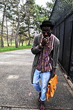 Kadeem Johnson - Vintage Shirt, Levi's® Jeans, Vintage Bag - Kjohnlasoul-Purple Plaid and Ripped Jeans