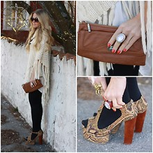 Anna Wiklund - Jeffrey Campbell Foxy, Charmant Of Sweden Tan Clutch, H&M Fringe Poncho, H&M Wooden Cocktail Ring, Johannan Gwang Ring - LEANING AGAINST THE WALL, WAITING