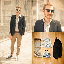 Stay Classic - Salvation Army Blazer, Converse Chuck Taylor, Ray Ban Clubmasters, Bdg Button Up, Levi's® Khakis - April 26, 2011