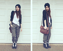 Jacquelyn Kristine Portolese - Deena & Ozzy Pink Ribbon Laced Wedge Boot, Undefined Women's Blazer, Thrifted White Blouse, Bcbg Griffin Casual Trouser, American Apparel The Sash (Black), Cooperative Multi Flap Turnlock Satchel - Parlez-Vous-Mae?