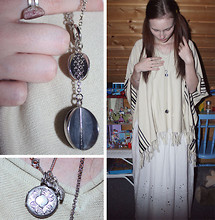 Momoiro K - Norwegian Stone Ring, H&M Long Necklace, Vintage Necklace From Oman, Vintage Locket, H&M Poncho, H&M Broderie Anglaise Skirt - Tablecloth Gypsy
