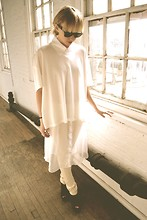 Betsy Berger - Ashley Rowe Tee, Ashley Rowe Sheer Silk Shirt, Ashley Rowe Leggings - WHITE/WHITE