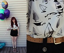 Danielle F - Forever 21 Oversized Sailboat Blouse, Marisa High Waisted Shorts, Marisa Belt, Urban Strappy Sandels - IT'S MY BIRTHDAY ~