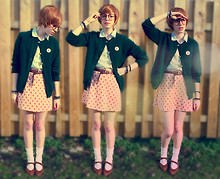 Aileen E. - Vintage Pink Flower Skirt, Vintage Green Knit Cardigan - Fictional