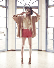 Marie Hamm - Urban Outfitters Hat, Super Sunglasses, Zara Cloak, Equipment Button Top, Zara Shorts, Trouve Heeled Sandals - A Color Block Moment.