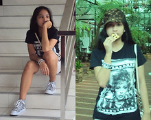 Natalia B - Black Shirt, Shorts, Ecko Red High Cut Sneakers, Guess? Guess Bag, Batman Baller, And Young&Reckless Baller - Cookie Monster