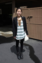 Iwona M - Pixie Market Striped Top, Aeropostale Bag, Jeffrey Campbell Boots - The end of April