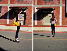 Kelly Lauren - Vintage Yellow Purse, Vintage Primary Colors Striped Top, J Brand Cropped Denim, Forever 21 Brown Wooden Heel Clogs - Storage stripes and wind