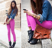 Aimee Song - J Brand Pink Skinny Jeans, Rebecca Minkoff Clutch - Think Better in Pink