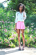 Amara nichole . - Silk Shorts, Target Cream Blouse, Forever 21 Floral Wedges - Wildflower.