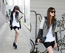 Andy T. - Gestuz Jacket, Mango Shoes, Diy Biker Shorts - HELP AND READ THE OUTFIT DESCRIPTION ↓↓↓