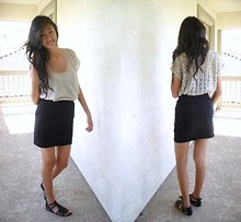Amy P. - Crochet Back Top, Cotton On Black Pencil Skirt, Forever 21 Gladiators - Live your life & stay young on the floor
