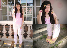 Kat Cruz - Undefined Yellow Heart Ring, Free Yellow Faith Pink Happiness Rings, Seventeen Pink Top, Orange Vintage Headband, Folded And Hung White Pants With Shade Of Pink, Yellow & Blue, Cousin's Yellow Wedges, Gift Cat Pendant - No border between us, I can always feel you inside