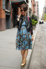 Jennine Jacob - Cacharel Floral Print Dress, Topshop Moto Jacket, Repetto Gold Mary Janes, Frontrowshop Super Sunglasses - May Brings Flowers