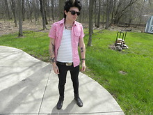 Johnny Cook dooley - H&M Pink And White, American Apparel Stripe Tank Top, H&M Black Skinny, Thrift Store Steel Toe Black Leather Boots - Don't give me that look