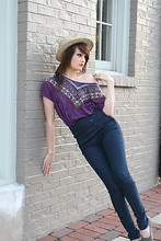 Jodi Swiney - Forever 21 Indian Top, Wet Seal High Waisted Skinny Jeans, Toms Grey, Fedora - Keep the wind at your back and the sun on your face.