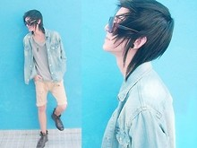 Bruuno CH. - Sunglasses, Denim Jacket, Leather Boots, Saruel Shorts (Torn), Pendant - I love boots!