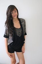 Amy P. - Forever 21 Tribal Blazer, Roxy Studded Tank, Scamps Black Shorts - Go 'head pull a 180, you're my boomerang