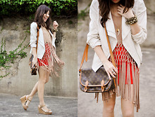 Kryz Uy - Forever 21 White Motorcycle Jacket, Danika Navarro Beige Macrame Top, Club Couture Red Bodycon Skirt, Louis Vuitton Messenger Bag, Call It Spring Crochet Wedges - Let there be fringe!