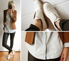 Sietske L - Undefined Blazer, Monki Denim Shirt, Cos Coated Jeans, Zara Shoes - LINEAR SKY.