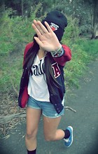 Rini N - Vans Shoes, Urban Outfitters Top, Chicago Bulls Beanie, Ebay Varsity Jacket - J'adore