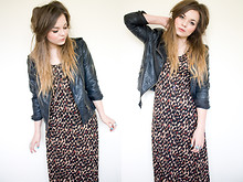 Lily Melrose - H&M Leopard Print Maxi, Primark Leather Jacket - Such great heights
