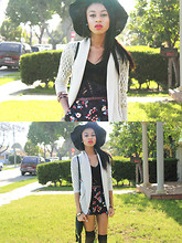 Amara nichole . - Forever 21 Cream Crotchet Cardigan, Papaya Crotchet Top, Floral Shorts, H&M Leather Skinny Belt - Crotchet.