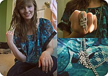 Kay H - Feather Necklace, Charlotte Russe Snake Ring, Forever 21 Sheer Top - My Snake