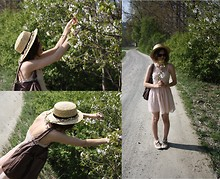 Jule ... - Esprit Sunnies, H&M Nude Lace Chiffon Dress, Primark 'Straw' Hat, Cool Girl Ballerina Flats, Orsay Bag, Esprit Silver Necklace With Two Faux Perls, Made From Real Flowers : ) Flower Band - Nude & Cherry