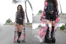 Christine L. - Unif Tie Dye Maxi, Custom Boots, Vintage Shorts, Unif Ripped Death Tee - PURPLE HAZE