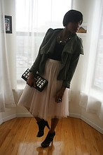 Monroe Steele - American Apparel Body Suit, Target Waterfall Jacket, Swapped Necklace, H&M Skirt, Nine West Gladiator Sandals, Forever 21 Clutch Studded - Black Swan