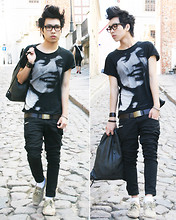 Toai Nguyen - Zara Backpack With Perforations, Zara Keith Haring T Shirt, H&M Shoes, H&M Leather Belt, Bracelets - 07052011