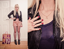 Ingrid O - Next Flat Boots, Louche Penny Farthing Necklace, Accessorize Bow Ring, Primark Biker Jacket, Topshop Pink Shorts, Topshop Plain Tee - I've got a bag full of joy