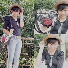 Nathania Hulu - Naughty Hat, Tie, Blouse, Jeans, Belt, Mickey Mouse Bag - Hello, Love