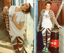 Rebecka Nyman - Topshop Flag, Levi's® T Shirt, Vans Sneakers, Topshop Shirt, Make Up Store Lipstick - Under cover of peanut shell
