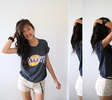 Amy P. - La Lakers Tee, Flud Black A2 Analog Watch, Forever 21 Distressed Khaki Shorts, Forever 21 Black Skinny Braided Belt - LAKERGANG