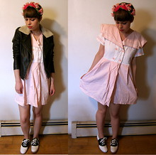 Celeste Cerro - Junk Antiques Brooklyn, Ny Velvet Flower Headband, Urban Outfitters Pleather Jacket, Pink Nautical Babydoll Dress, Thrifted Saddle Shoes - Blushing Sailor